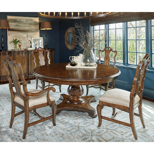 A r t furniture inc continental 5 piece 66 round dining for A r t dining room furniture