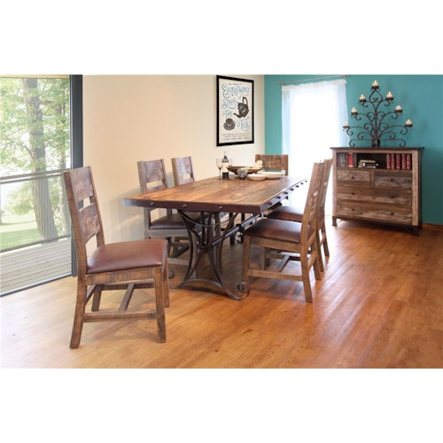 International Furniture Direct 970 7pc Dining Set Ivan Smith Furniture Dining 7 Or More