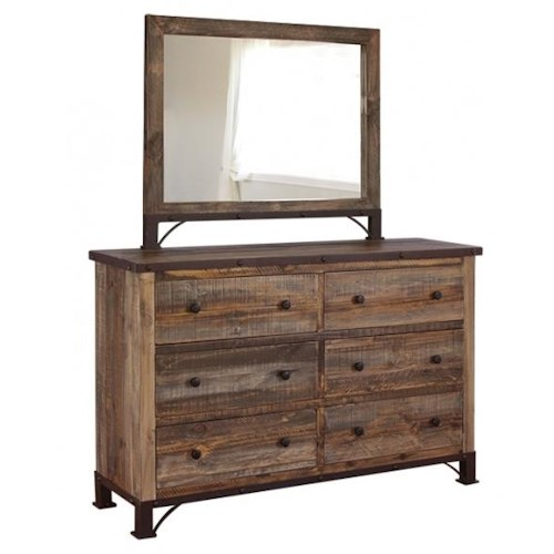 International Furniture Direct 900 Antique Rustic 6 Drawer Dresser And Mirror Furniture And