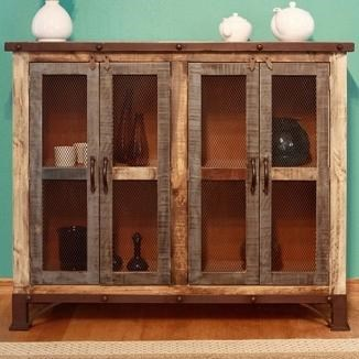 International Furniture Direct 900 Antique Rustic Multicolor Console with 4 Iron Mesh Doors ...