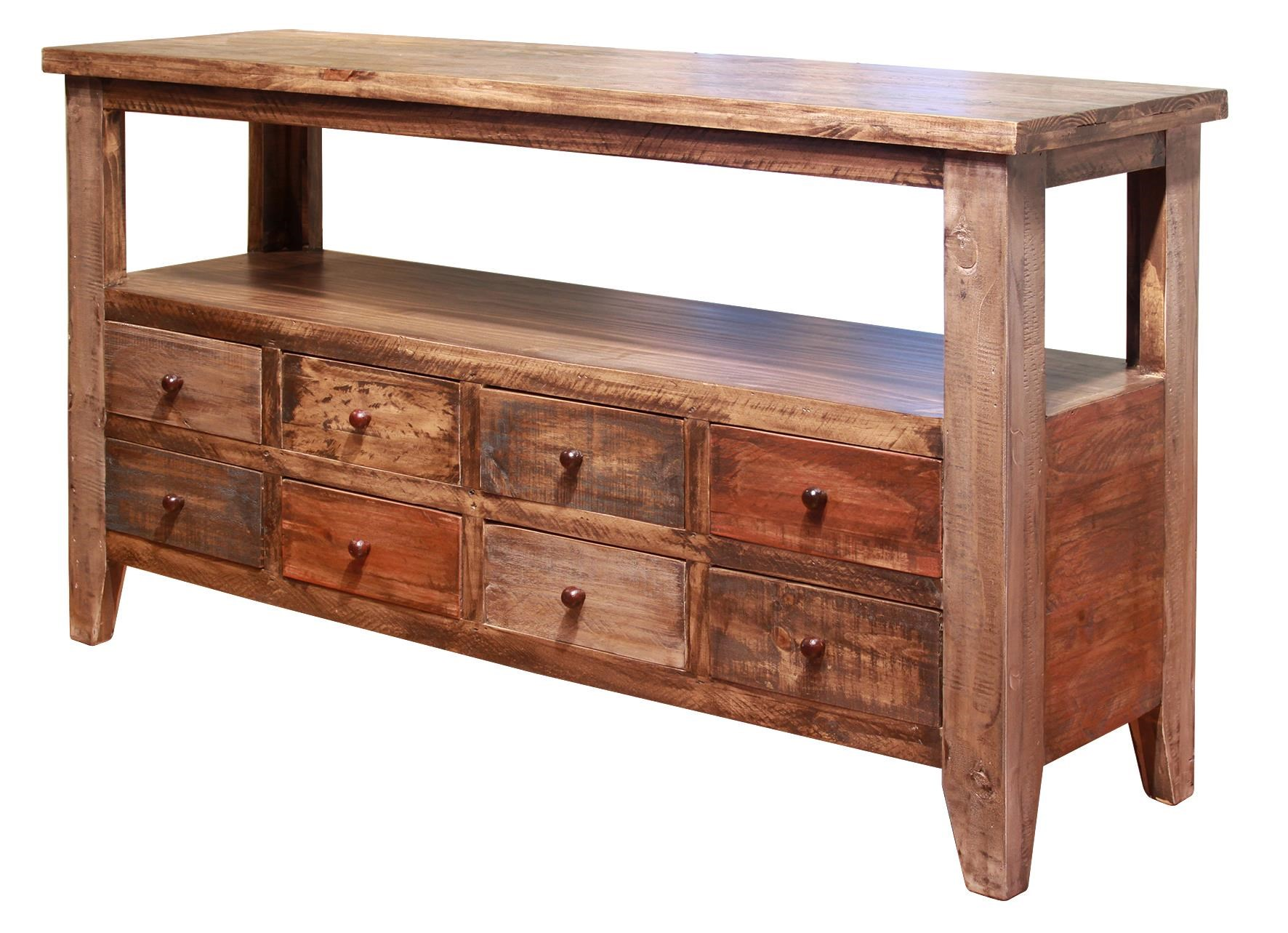 International Furniture Direct Antique Sofa Table with 8