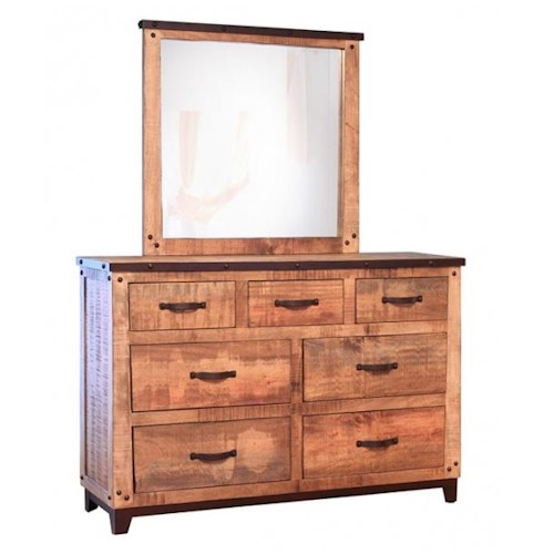 International Furniture Direct Maya Rustic Style 7 Drawer Dresser And Mirror Set Furniture And