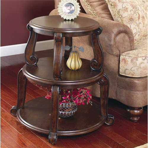 Signature Design By Ashley Brookfield Drum Table W 2 Shelves Pilgrim Furniture City End Table