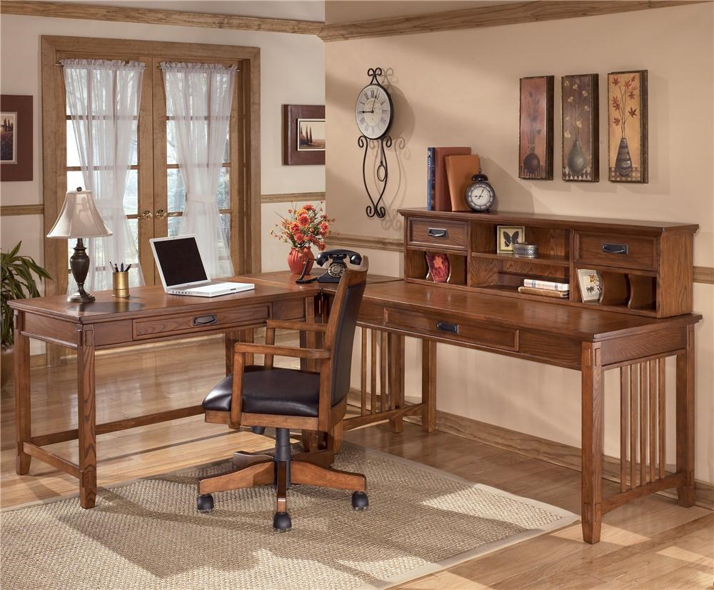 Ashley Furniture Cross Island L Shape Desk with Low Hutch