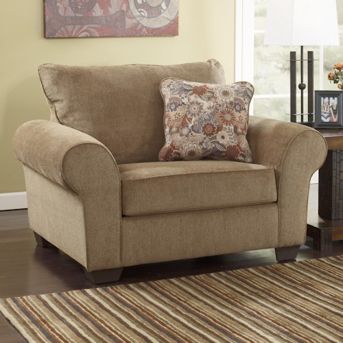 à Shley Furniture: Umber Chair And A Half With Rolled Arms