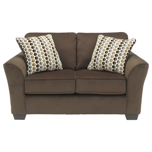 Ashley Furniture Geordie Cafe Contemporary Loveseat With Flared Arms Furniture And