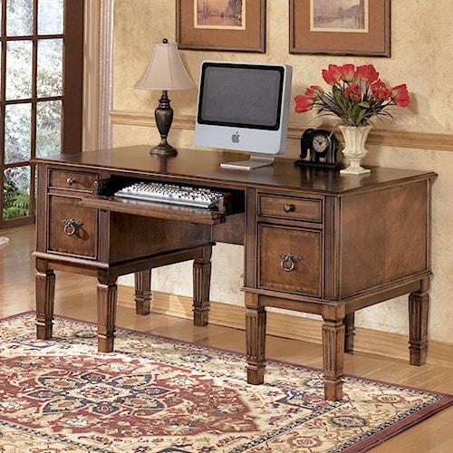 signature design by ashley hamlyn storage leg desk royal