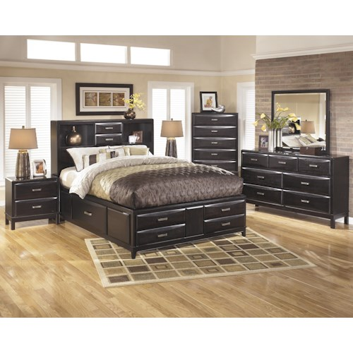 Ashley furniture kira king bedroom group dunk bright for Bedroom furniture groups