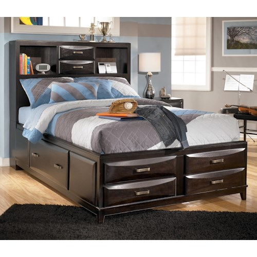 Ashley furniture kira full storage bed becker furniture for Small scale furniture stores