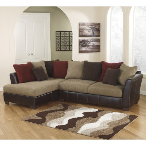 Ashley Furniture Sanya Mocha 2 Piece Sectional With Left