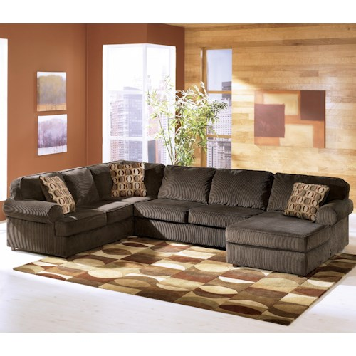 Ashley furniture vista chocolate 3 piece sectional with for 3 piece leather sectional sofa with chaise