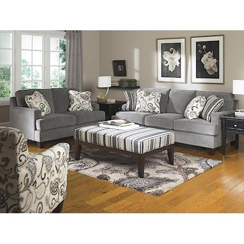 Ashley Furniture Yvette Steel Stationary Living Room Group Value City Furniture Upholstery