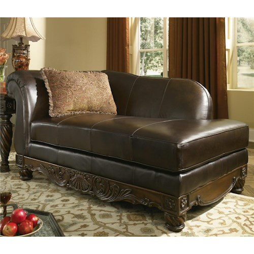 Millennium by ashley north shore dark brown upholstered for Ashley furniture leather chaise