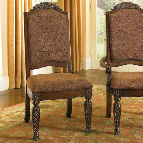 Old World Dining Side Chairs With Elegant Back Crown