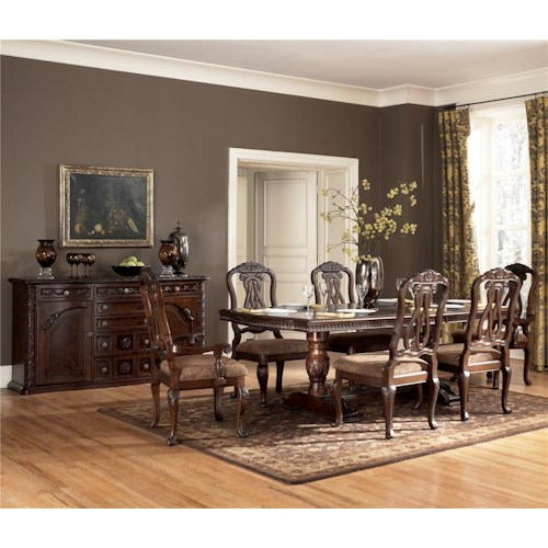 Millennium North Shore 7 Piece Double Pedestal Dining Table Side Chair Set Prime Brothers