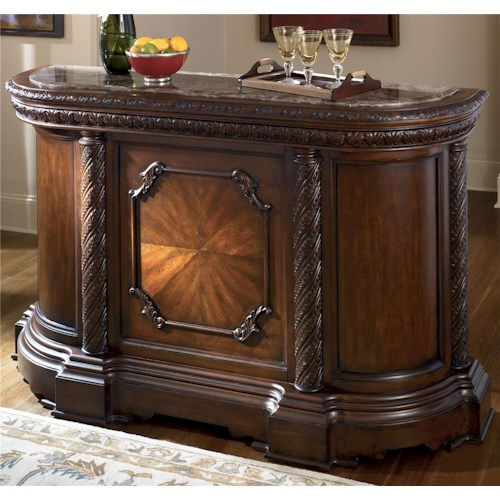 Millennium North Shore Traditional Demilune Bar With Marble Top Wayside Furniture Bar