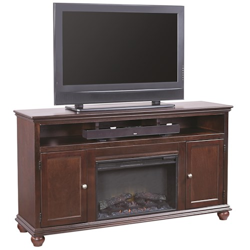 Aspenhome Casual Traditional 63 Fireplace Console With 2 Doors Godby Home Furnishings Tv