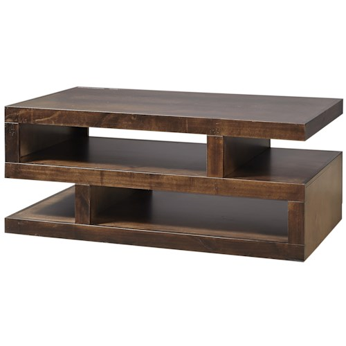 Aspenhome Contemporary Alder Contemporary Cocktail Table With Storage Wayside Furniture