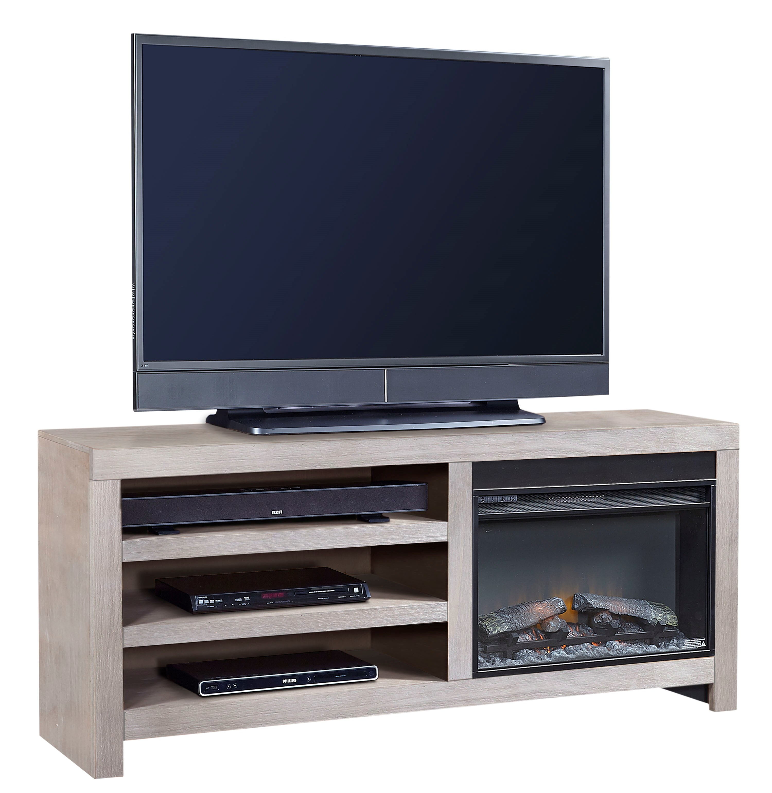 Aspenhome Contemporary Driftwood 65 Inch Fireplace Console
