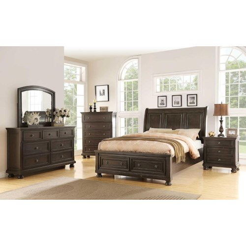 Avalon Furniture Houston Grey Queen Storage Bed, Dresser