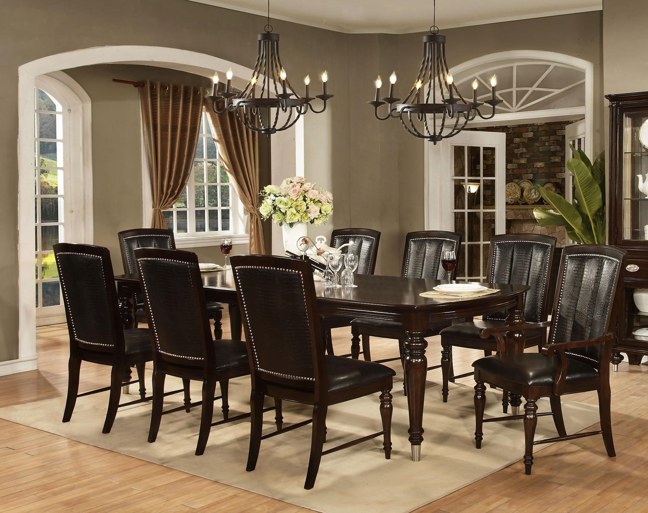 Avalon Furniture Dundee Place 9 Piece Leg Table with 2
