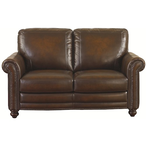 Traditional Loveseat With Nail Head Trim Hamilton By Bassett Wilcox Furniture Love Seats