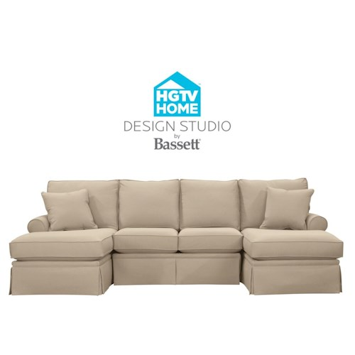 Bassett Hgtv Home Design Studio Customizable C Shaped Double Chaise Sectional Great American