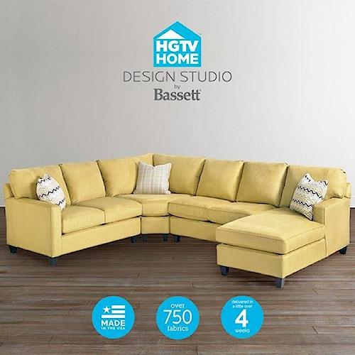 Bassett hgtv home design studio customizable u shaped for Bassett sectional sofa with chaise