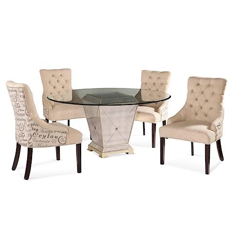 Bassett Mirror Hollywood Glam Borghese Casual Dining Set Jacksonville Furniture Mart Dining