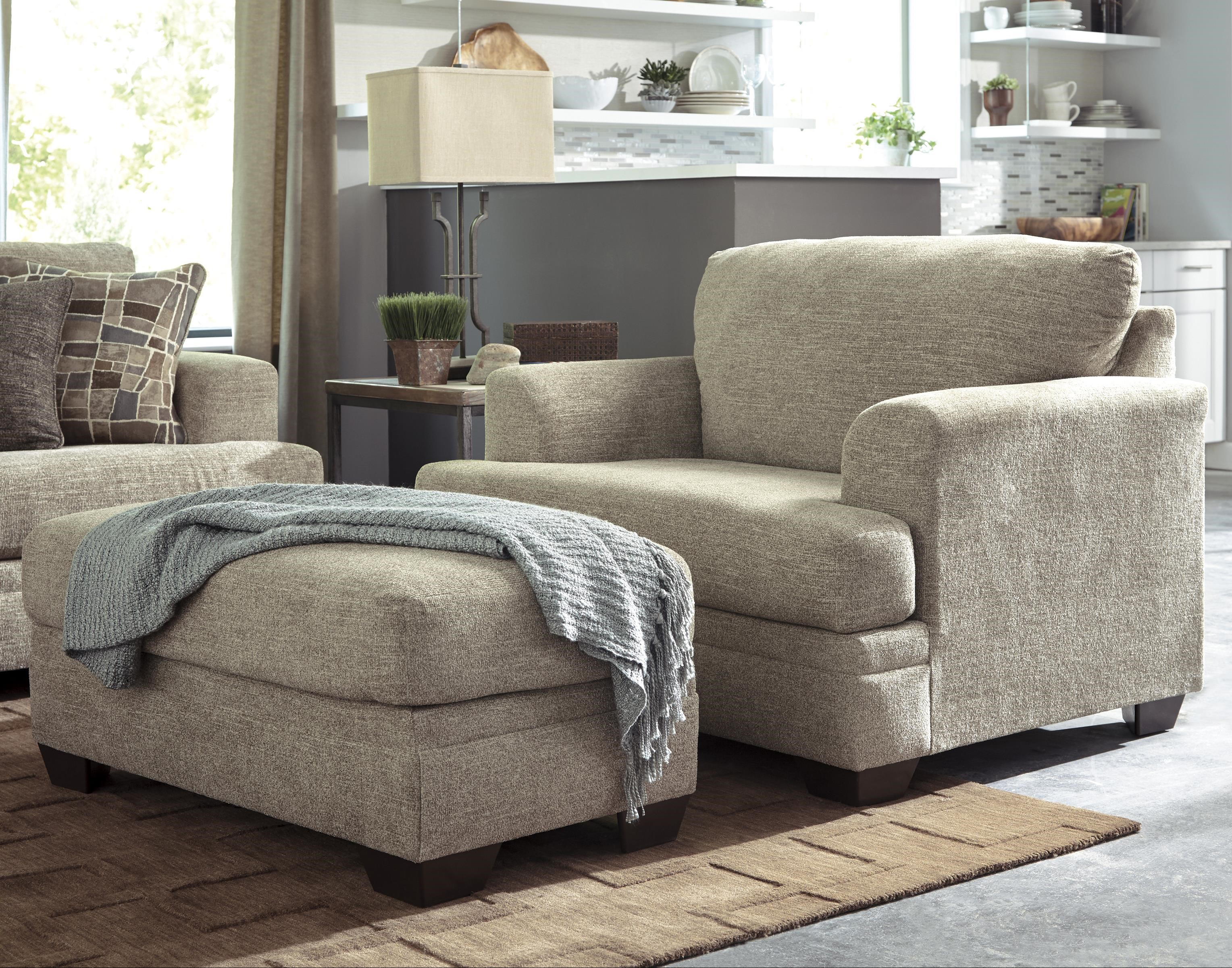 Benchcraft Barrish Contemporary Chair and a Half & Ottoman ...