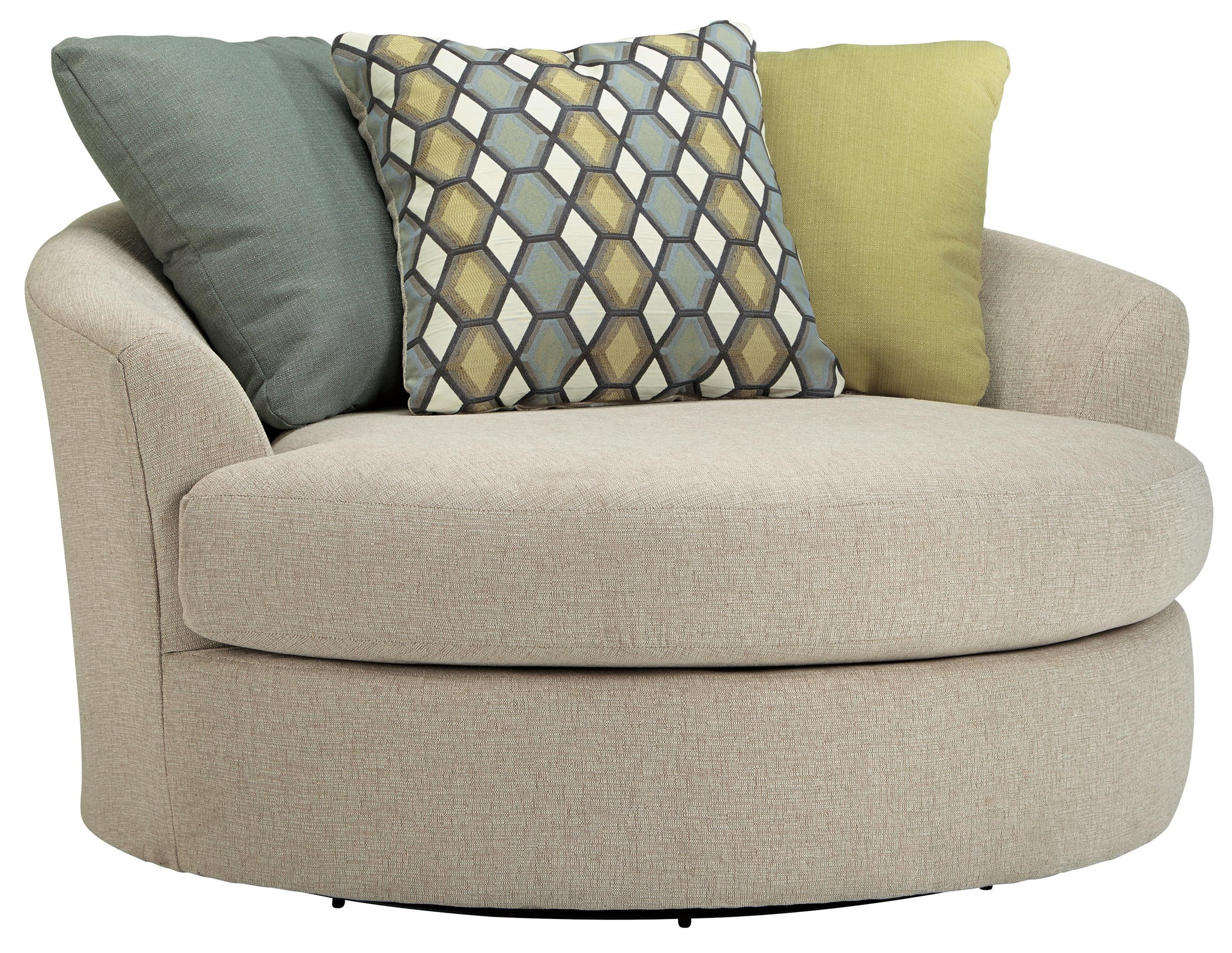 Benchcraft Casheral Round Oversized Swivel Accent Chair with Loose Back Pillows - Samu0026#39;s ...