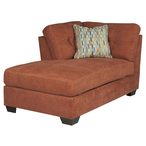 Benchcraft delta city rust contemporary laf corner for Benchcraft chaise lounge