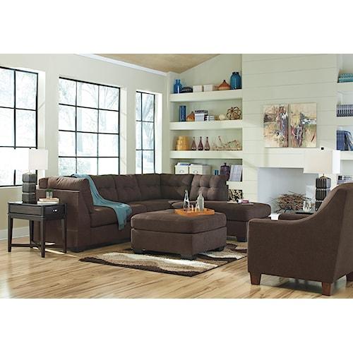 Benchcraft maier walnut stationary living room group for Walnut furniture living room