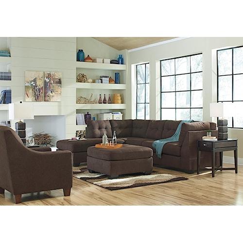 Benchcraft Maier Walnut Stationary Living Room Group Value City Furniture