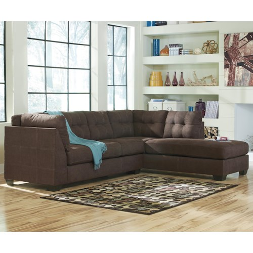 Benchcraft maier walnut 2 piece sectional w sleeper for Benchcraft chaise lounge