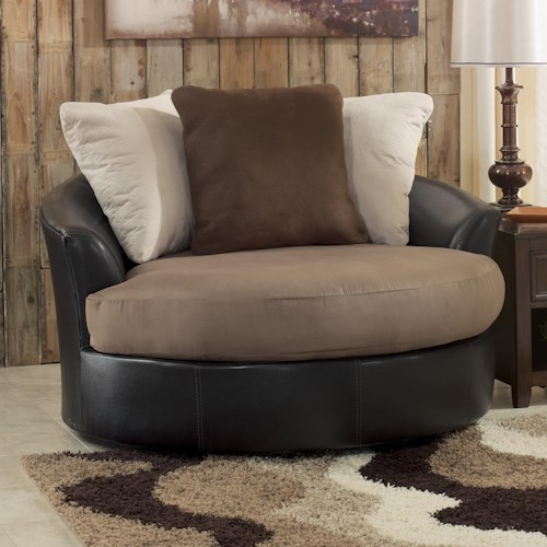 benchcraft masoli mocha oversized swivel accent chair sam 39 s appliance furniture. Black Bedroom Furniture Sets. Home Design Ideas