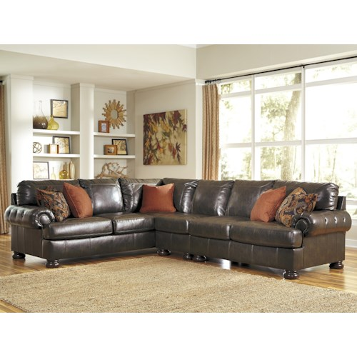 Benchcraft Nesbit Durablend Transitional 3 Piece Sectional With Button Tufted Rolled Arms Zak