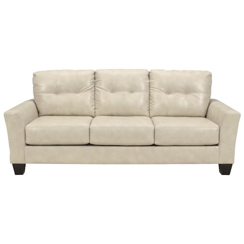 Benchcraft Paulie Durablend Taupe Contemporary Sofa With Tufted Detailing Ivan Smith