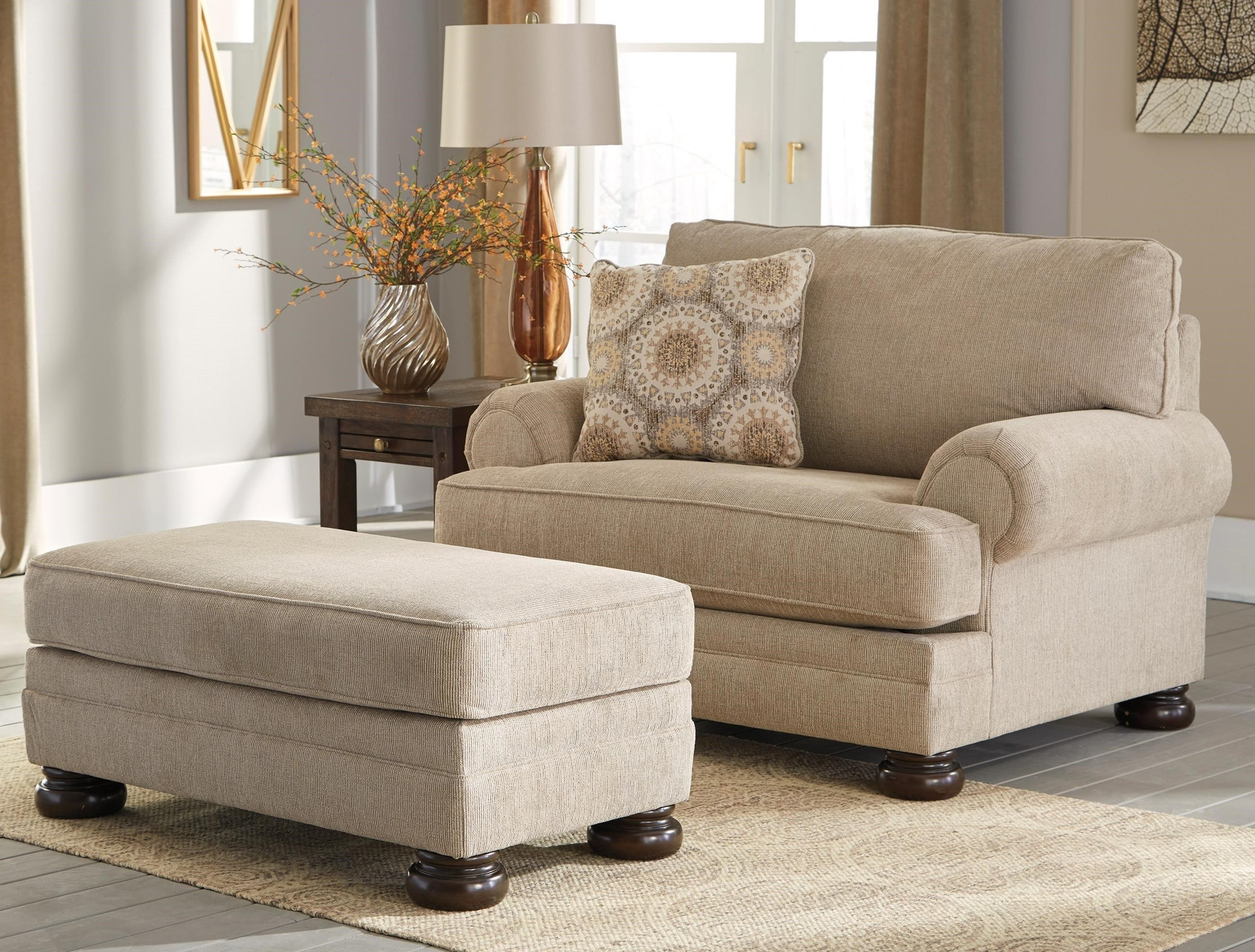 Benchcraft Quarry Hill Chair and a Half & Ottoman