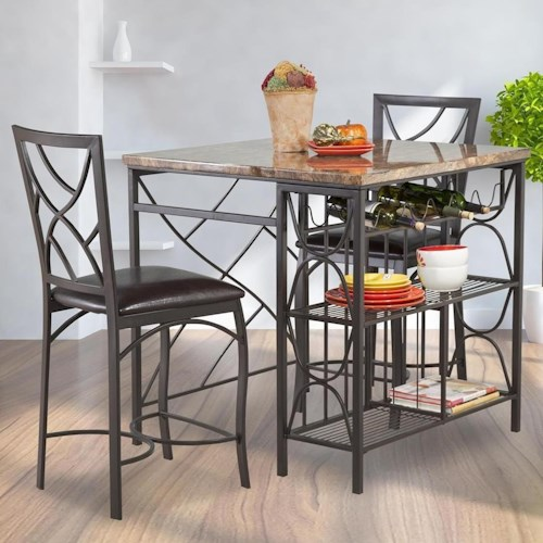 Kitchen Island Table And Chairs: Bernards Ayden 3-Piece Counter Kitchen Island Set