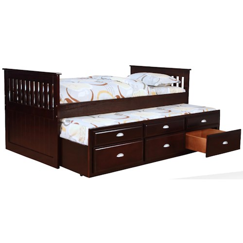 Bernards Captains Beds Captain 39 S Bed With Trundle And Storage Royal Furniture Captain 39 S Bed