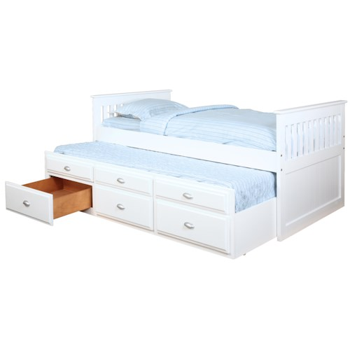 Bernards Jesse Captain 39 S Bed With Trundle And Storage Wayside Furniture Captain 39 S Beds