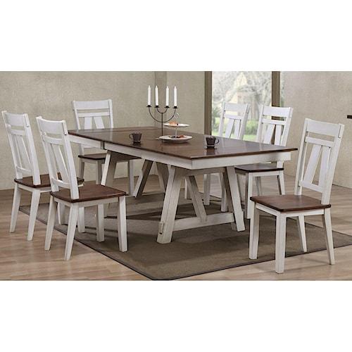 Bernards winslow 7 piece dining table set royal for Dining sets nashville tn