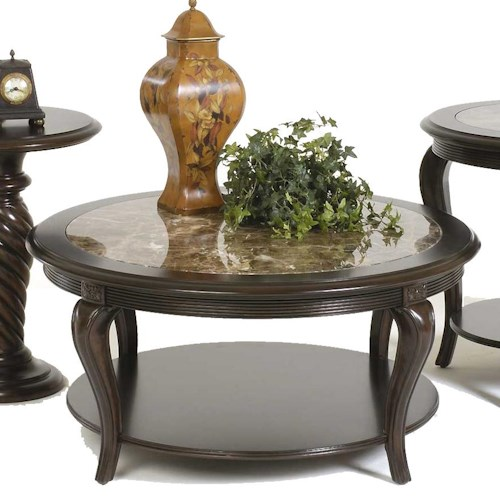 Bernhardt Belmont 40 Round Cocktail Table With Marble Inset Top Story Lee Furniture