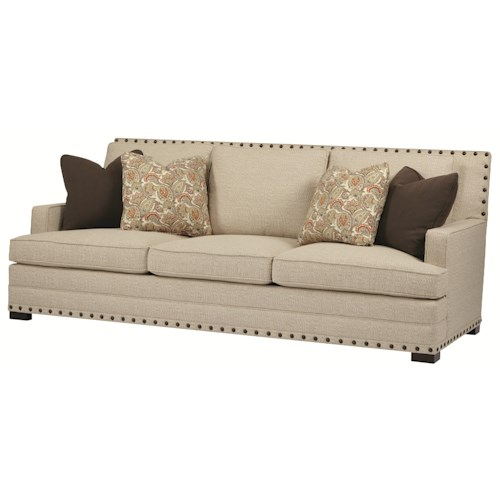 Bernhardt Cantor Sofa With Nail Head Trim And Low Set Arms
