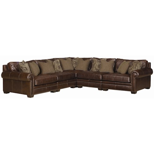 Bernhardt grandview 5 piece traditional sectional sofa for Traditional sectional