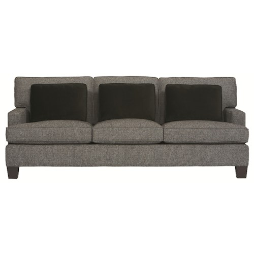bernhardt interiors denton contemporary sofa sleeper with track arms and t cushions reeds