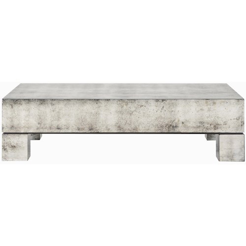 Bernhardt Interiors Estelle Antiqued Mirrored Rectangular Cocktail Table Belfort Furniture