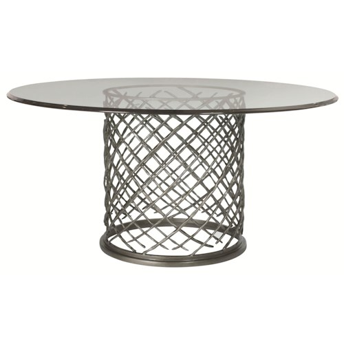 Bernhardt Hallam Modern Metal Dining Table With Glass Top 60 Design
