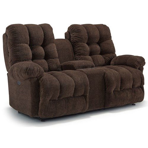 Best home furnishings everlasting power rocking reclining loveseat with storage console Rocking loveseats